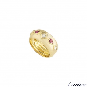 Cartier 18k Yellow Gold Diamond & Ruby Dress Ring